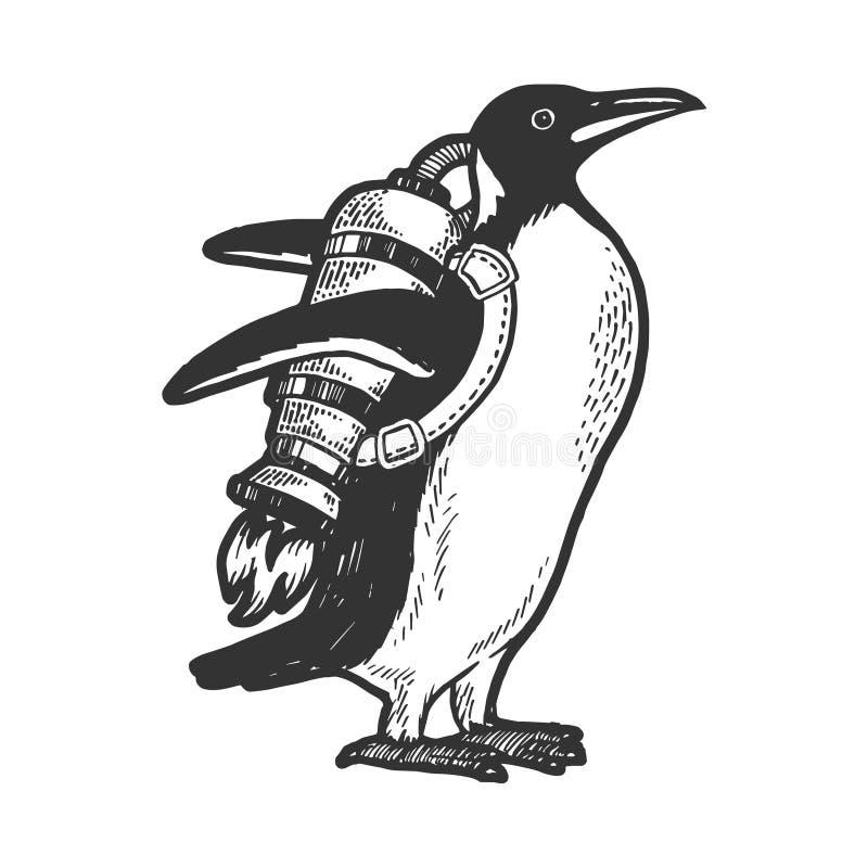 Pájaro del pingüino con vector del bosquejo del jetpack stock de ilustración
