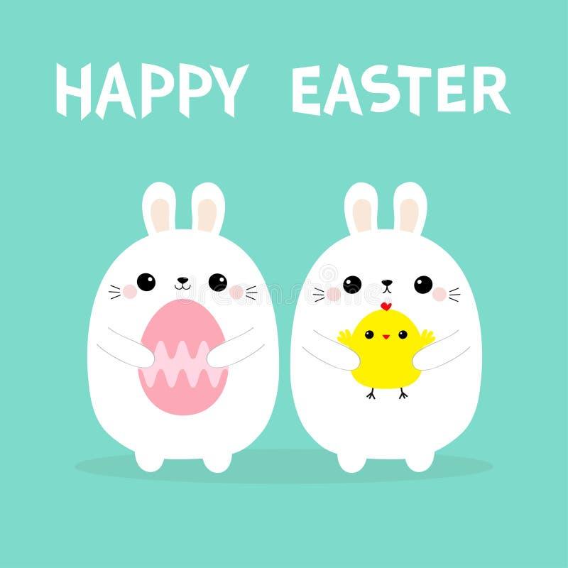 Pájaro del pollo de la tenencia de dos conejitos, sistema de pintura del huevo Pascua feliz Amigos del polluelo del bebé del cone libre illustration