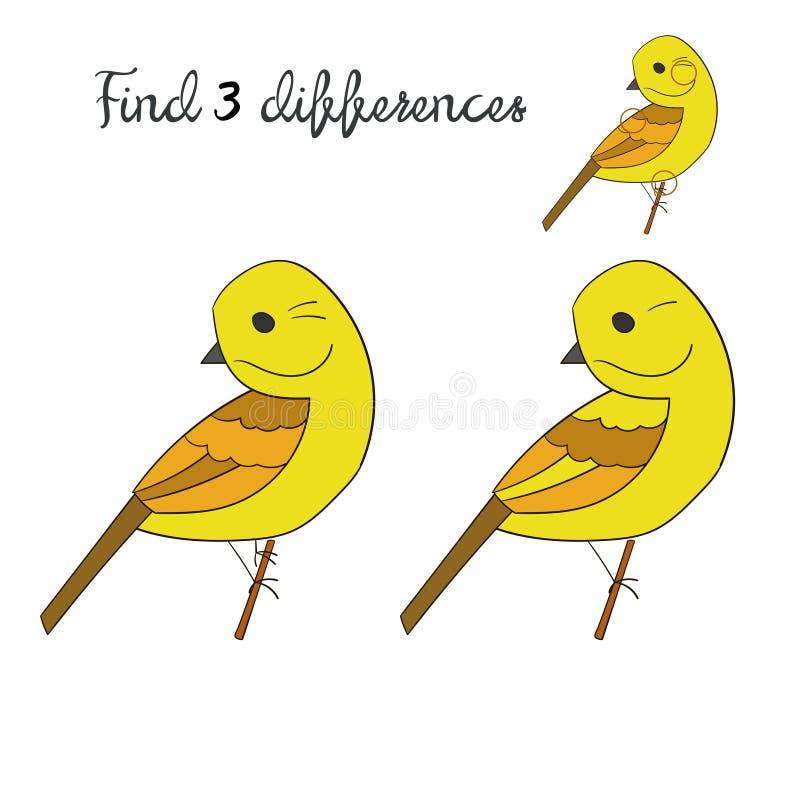 Pájaro del yellowhammer de las diferencias del hallazgo ilustración del vector