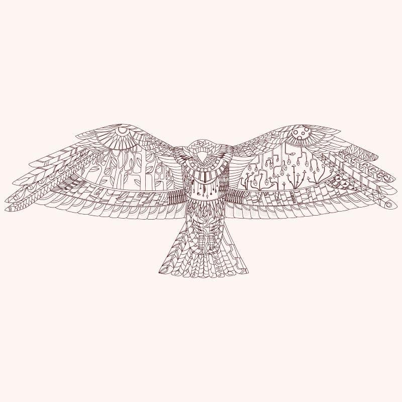 Pájaro despredador modelado ilustración del vector