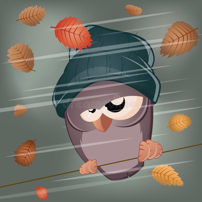 Pájaro divertido de la historieta en clima tempestuoso ilustración del vector