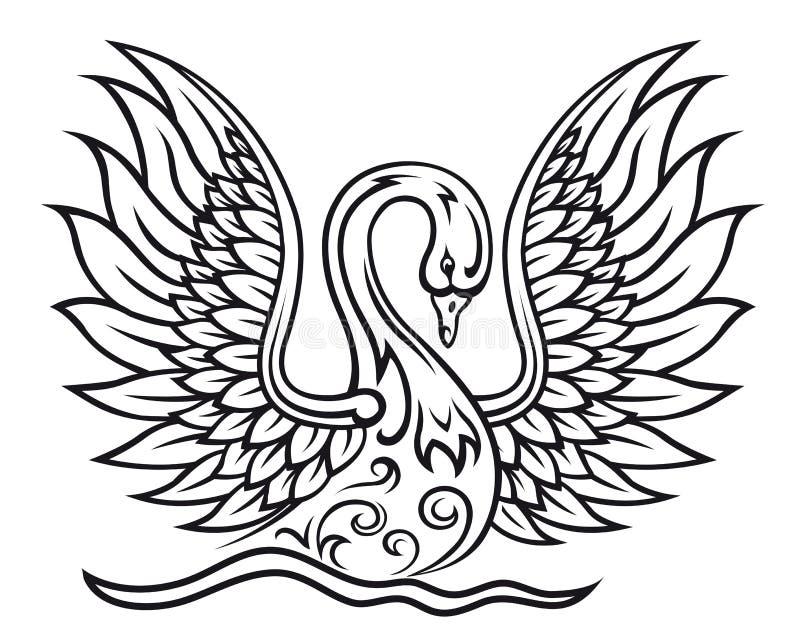 Pájaro elegante del cisne ilustración del vector