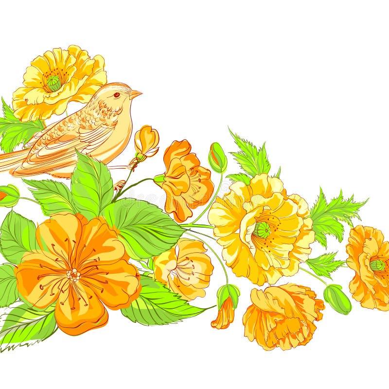 Pájaro en el brunch floreciente de Sakura. libre illustration