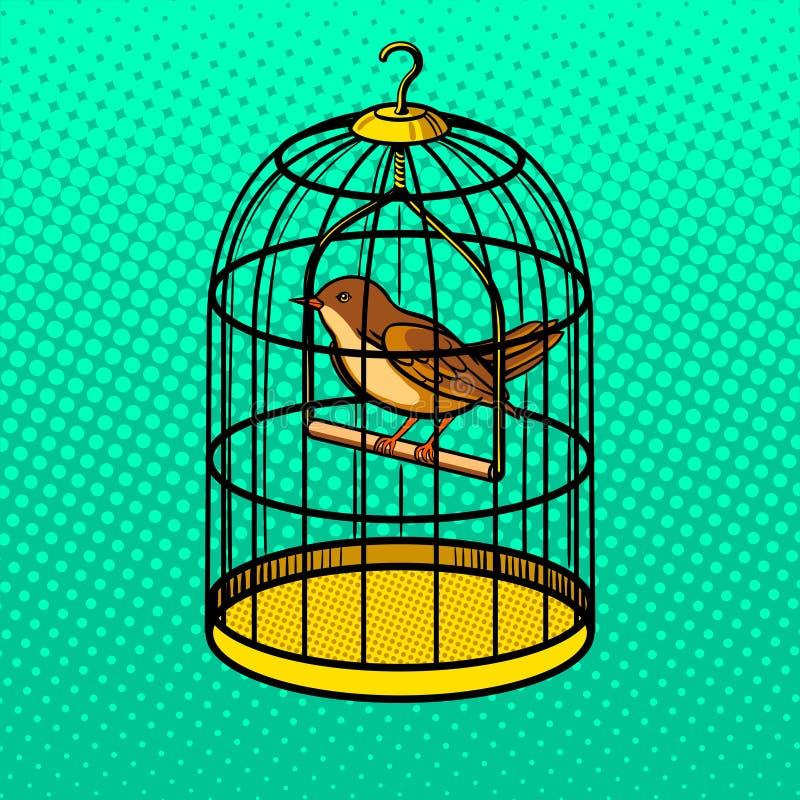 Pájaro en el ejemplo del vector del estilo del arte pop de la jaula libre illustration