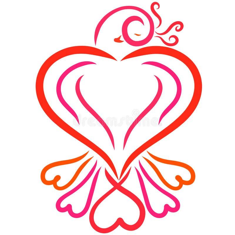 Pájaro en la forma del corazón, de la belleza y del amor stock de ilustración