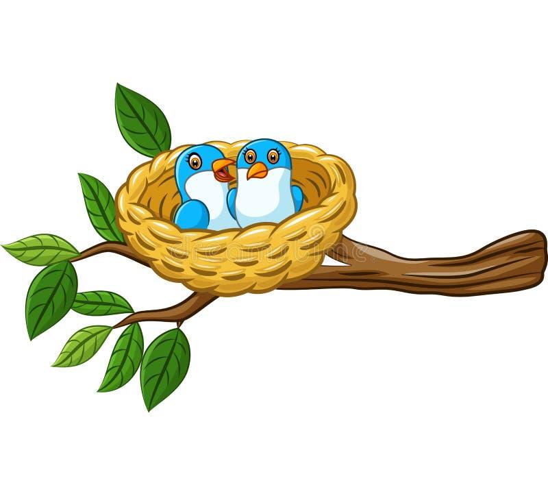 Pájaro en la jerarquía aislada en el fondo blanco stock de ilustración
