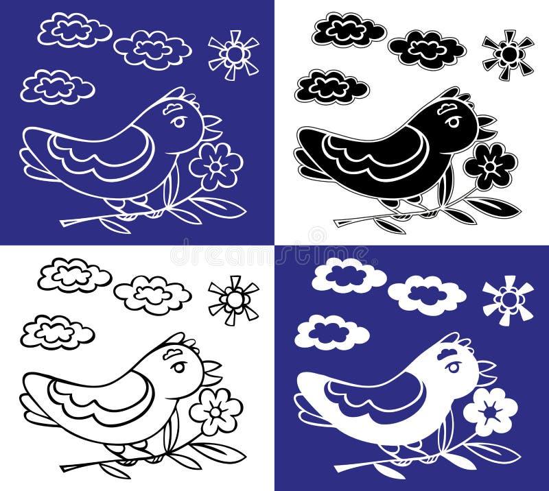 Pájaro en la rama del dibujo de la flor stock de ilustración