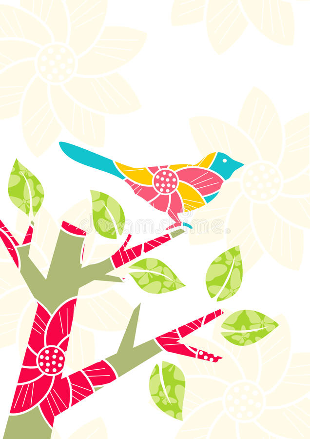 Pájaro en la ramificación de árbol stock de ilustración