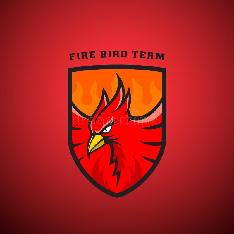 Pájaro en un emblema o Logo Template del vector del escudo Ejemplo de Phoenix del fuego stock de ilustración