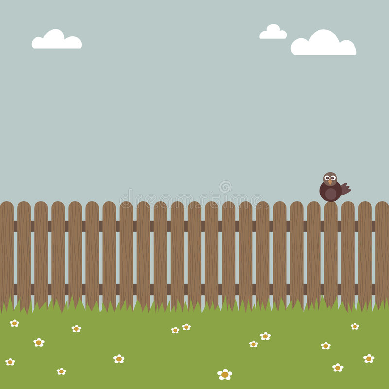 Pájaro en una cerca stock de ilustración