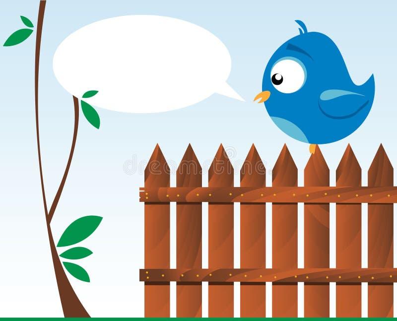 Pájaro en una cerca de madera stock de ilustración