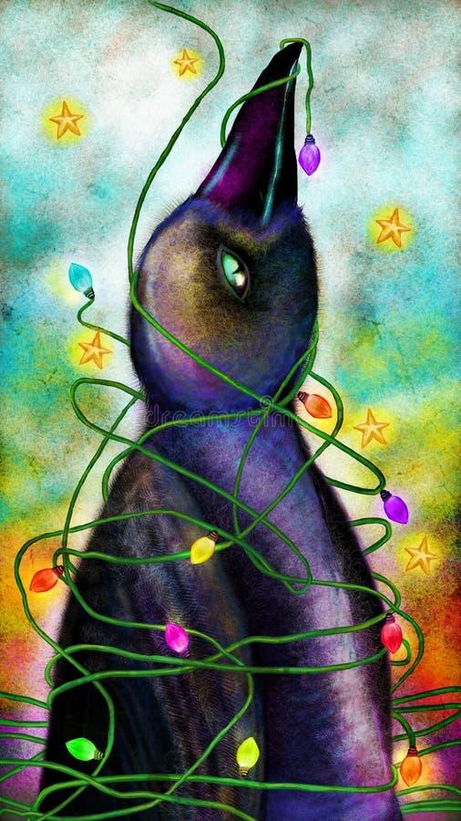 Pájaro envuelto en luces del árbol de navidad libre illustration