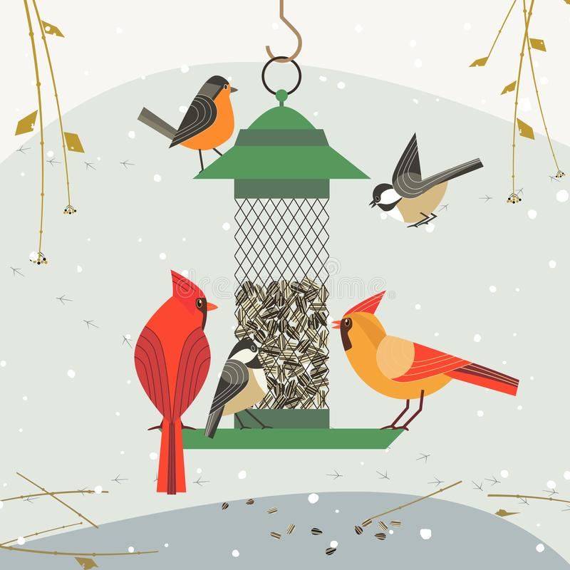 Pájaro feding icon-1 stock de ilustración