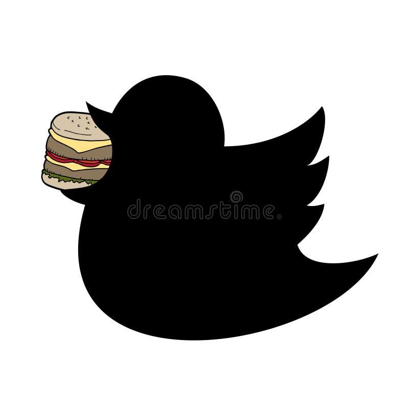 Pájaro gordo que come la hamburguesa stock de ilustración