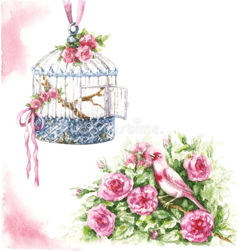 Pájaro, jaula y flores de la acuarela ilustración del vector