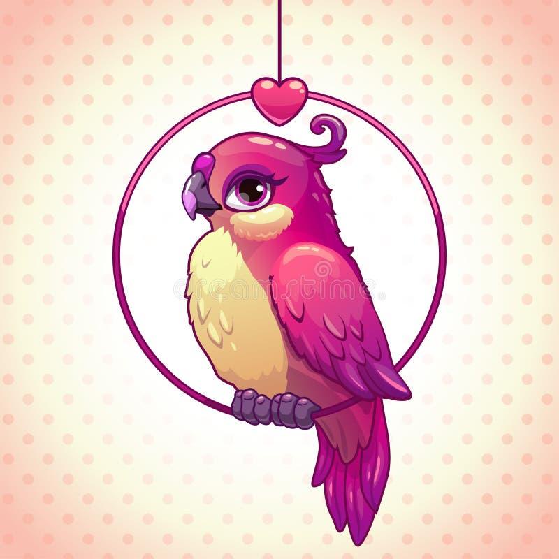 Pájaro lindo de la muchacha del rosa de la historieta stock de ilustración
