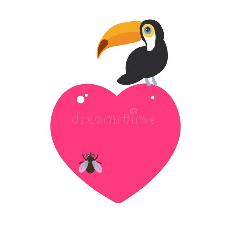 Pájaro lindo del tucán de la historieta y el diseño de tarjeta de la mosca con un animal divertido con el corazón rosado en un fo stock de ilustración