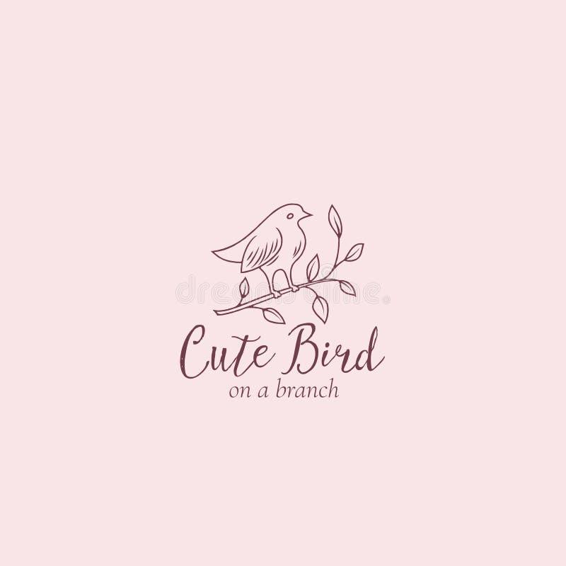 Pájaro lindo en una muestra, un símbolo o Logo Template del vector del extracto de la rama Birdy Silhouette con tipografía modern libre illustration