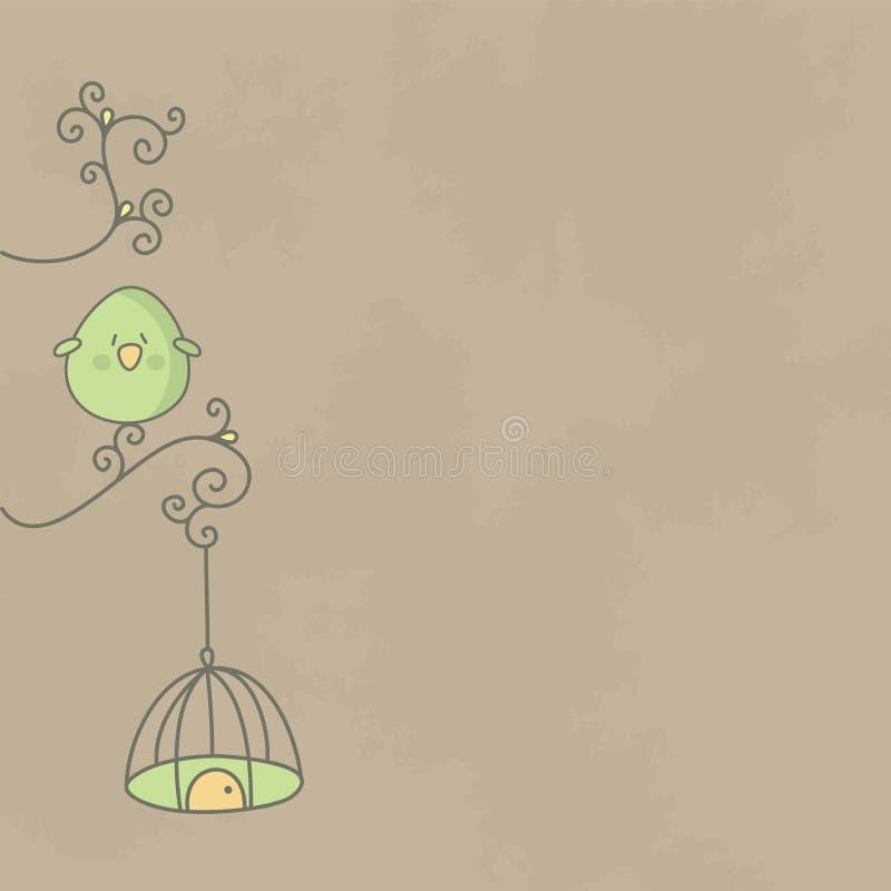 Pájaro lindo en una ramificación del árbol con su jaula libre illustration