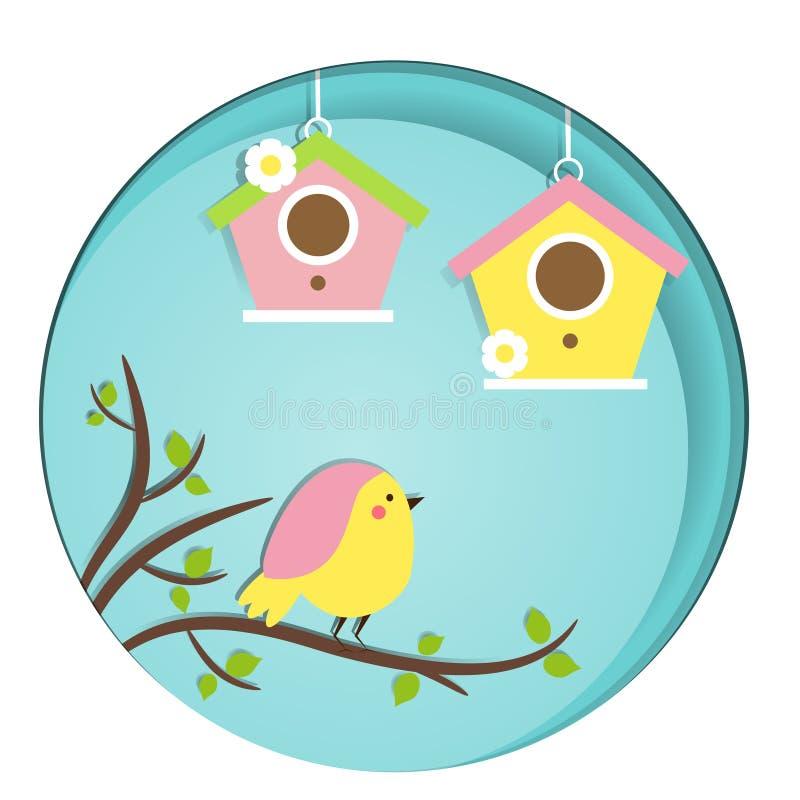 Pájaro lindo que se sienta en rama de árbol birdhouses La bandera del vector en el corte del papel, papel talla, estilo del arte  libre illustration