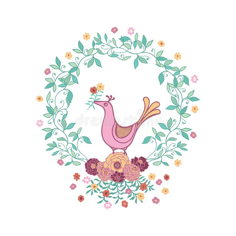 Pájaro lindo que sostiene la flor en un ejemplo del vector de la guirnalda stock de ilustración