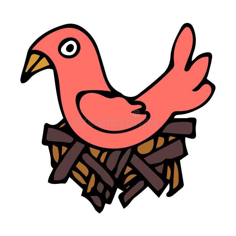 Pájaro linear del garabato de la historieta en la jerarquía aislada en el fondo blanco libre illustration