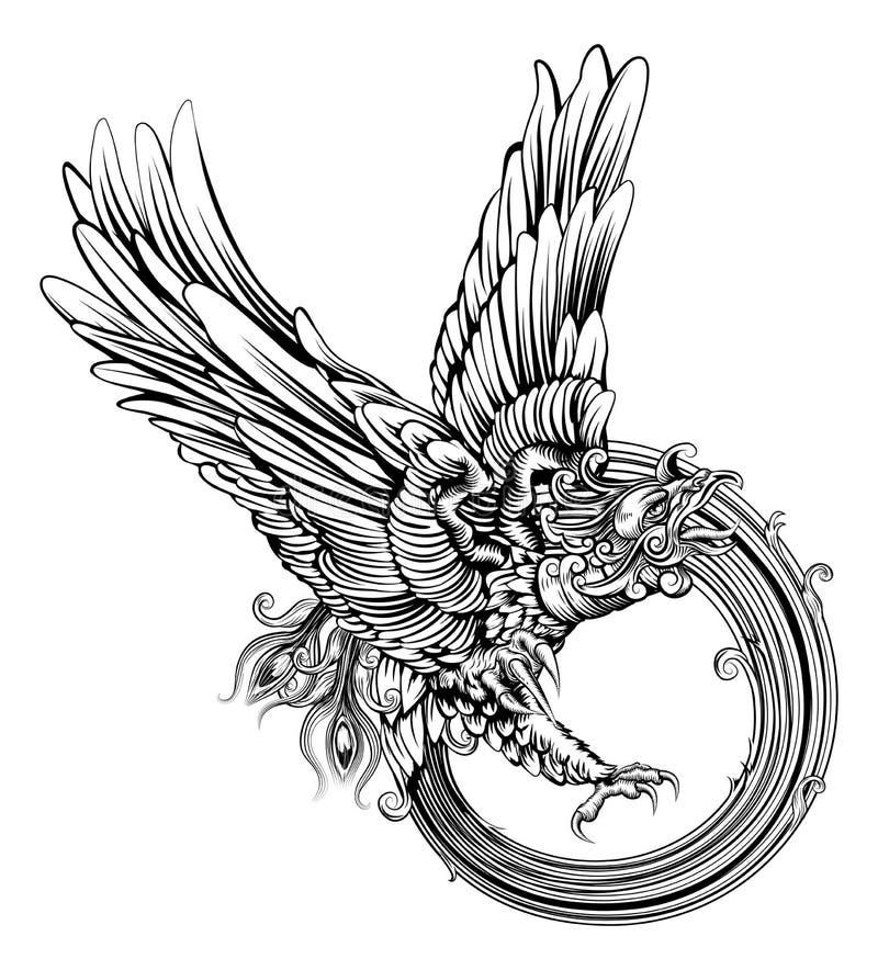 Pájaro o águila de Phoenix ilustración del vector