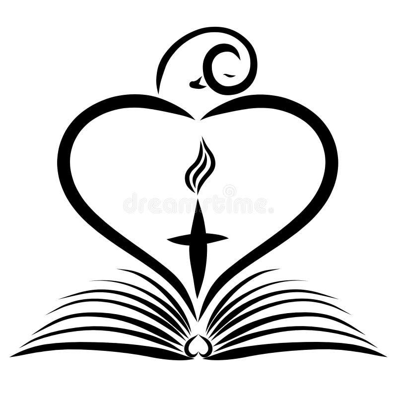 Pájaro que sale del libro, de la forma del corazón y de la cruz con la llama libre illustration