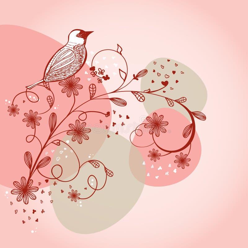 Pájaro que se sienta en la ramificación de la flor libre illustration
