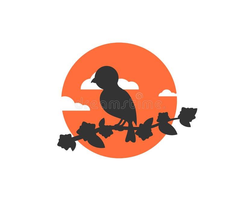 Pájaro que se sienta en una rama de árbol en un vector hermoso del logotipo del icono del fondo de la puesta del sol stock de ilustración