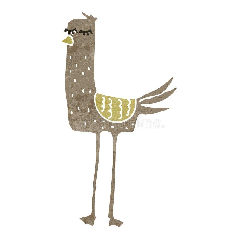 pájaro retro de la historieta ilustración del vector