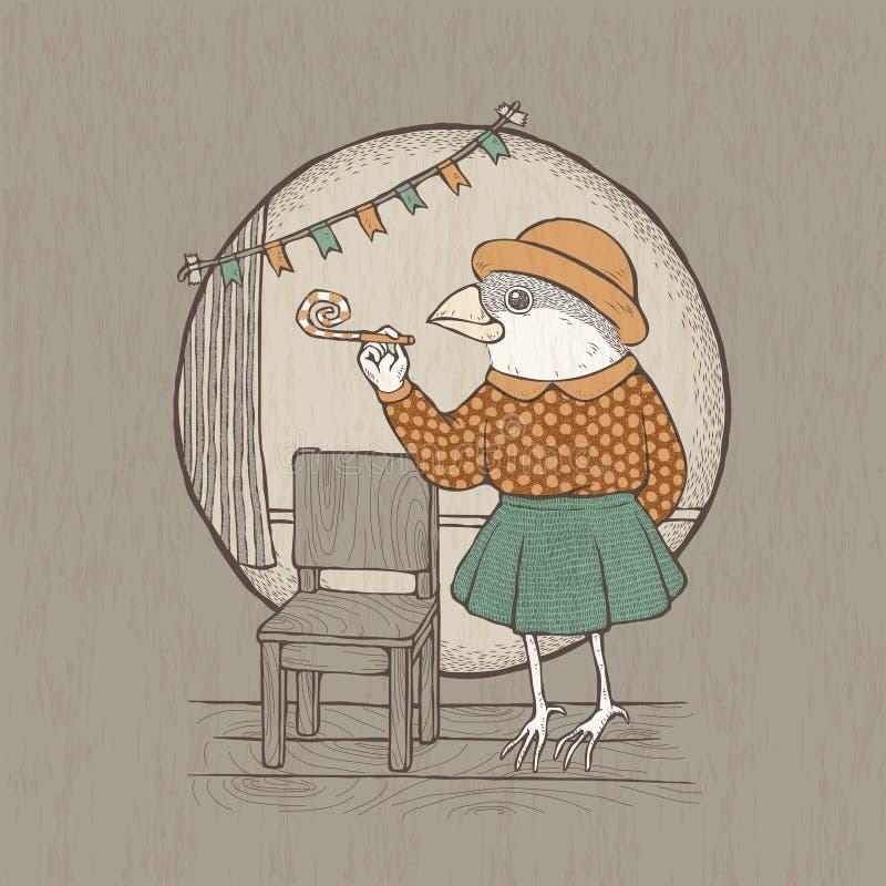Pájaro retro dibujado mano de la señora del estilo stock de ilustración