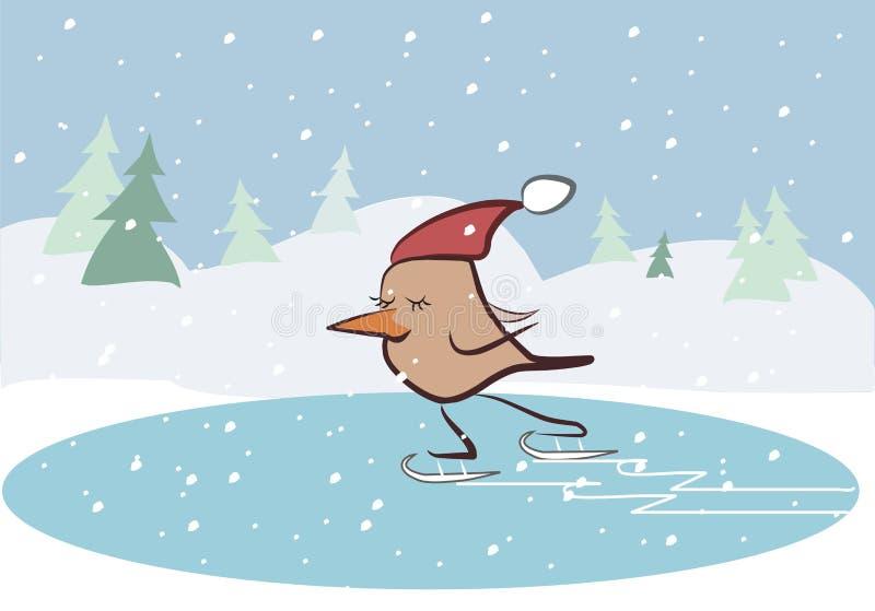 Pájaro romántico que patina en el hielo ilustración del vector