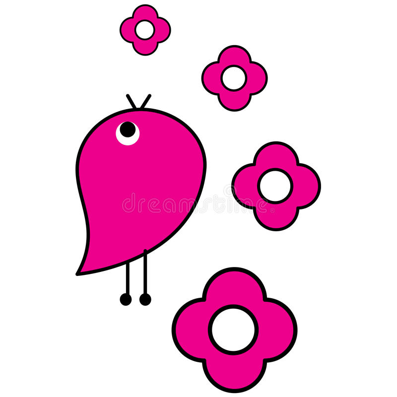 Pájaro rosado stock de ilustración
