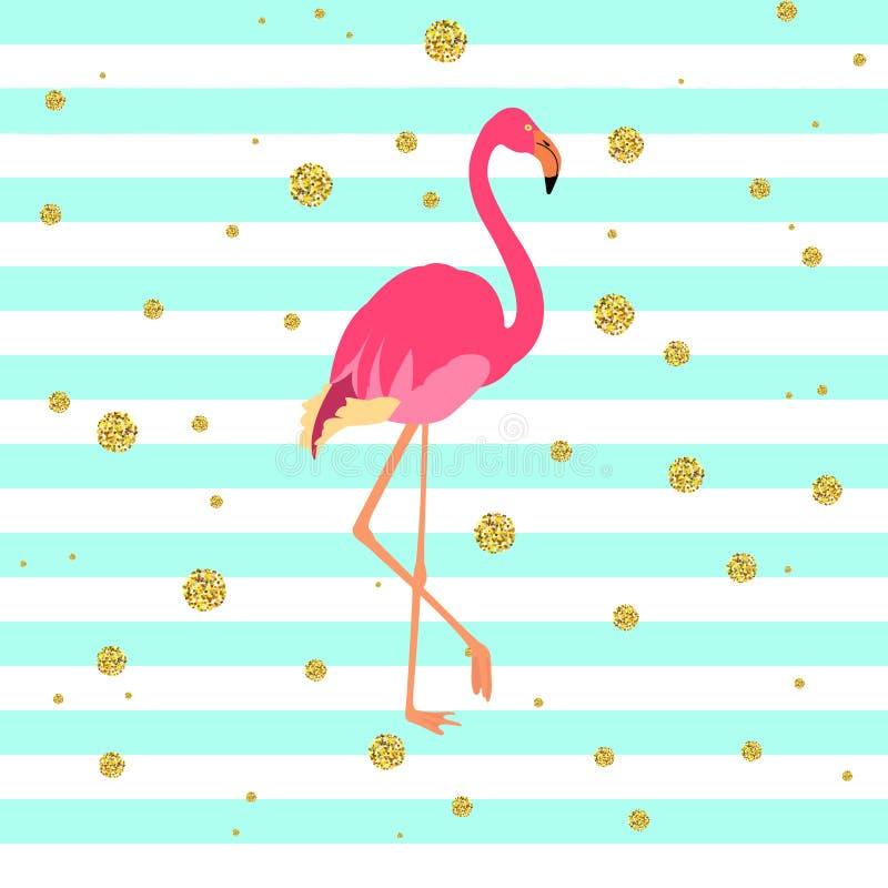 Pájaro rosado del flamenco ilustración del vector