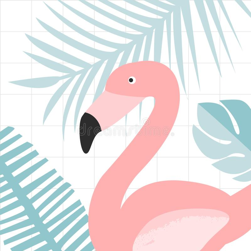 Pájaro rosado del flamenco en hojas de la selva Impresión del ejemplo de la naturaleza para las tarjetas y los carteles ilustración del vector