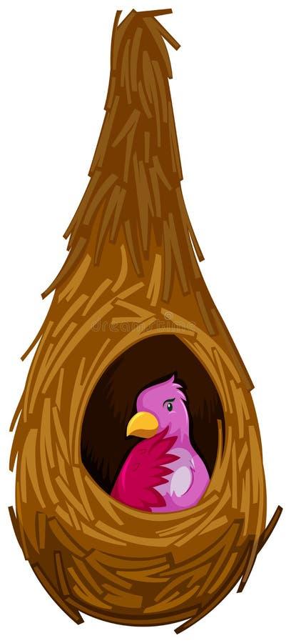 Pájaro rosado en la jerarquía libre illustration