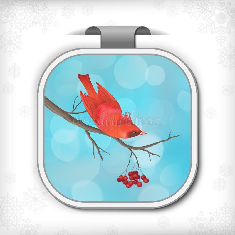 Pájaro Rowan Tree Branch de la etiqueta engomada de la Navidad del invierno ilustración del vector