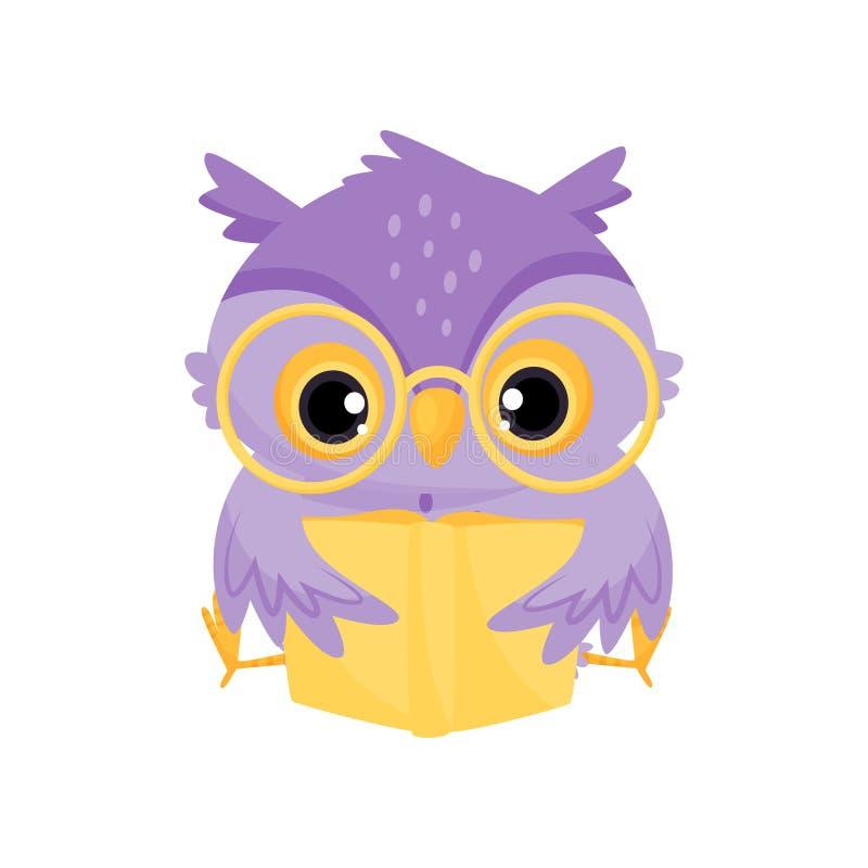 Pájaro sabio púrpura lindo del búho que lee un libro, una educación escolar y un ejemplo del vector del conocimiento stock de ilustración