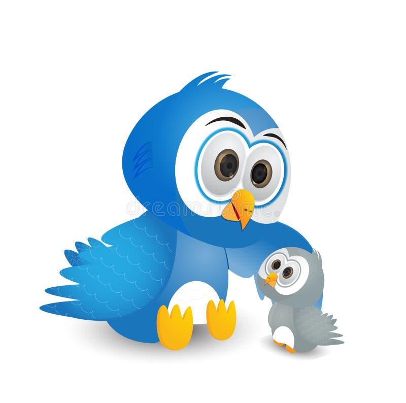 Pájaro sabio que habla con su niño ilustración del vector