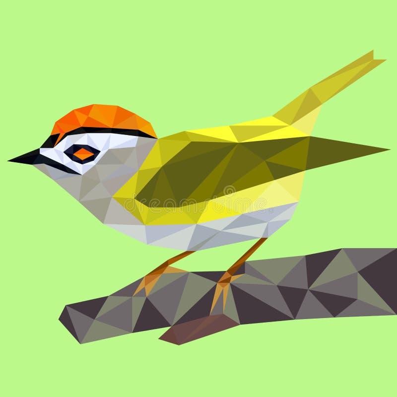Pájaro salvaje amarillo del polígono stock de ilustración
