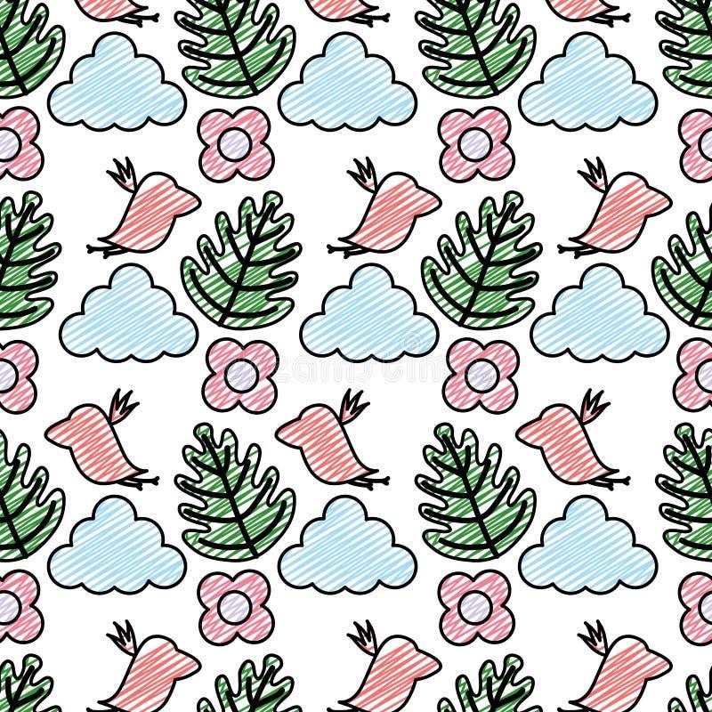 Pájaro tropical del garabato con el fondo de la planta y de la nube ilustración del vector