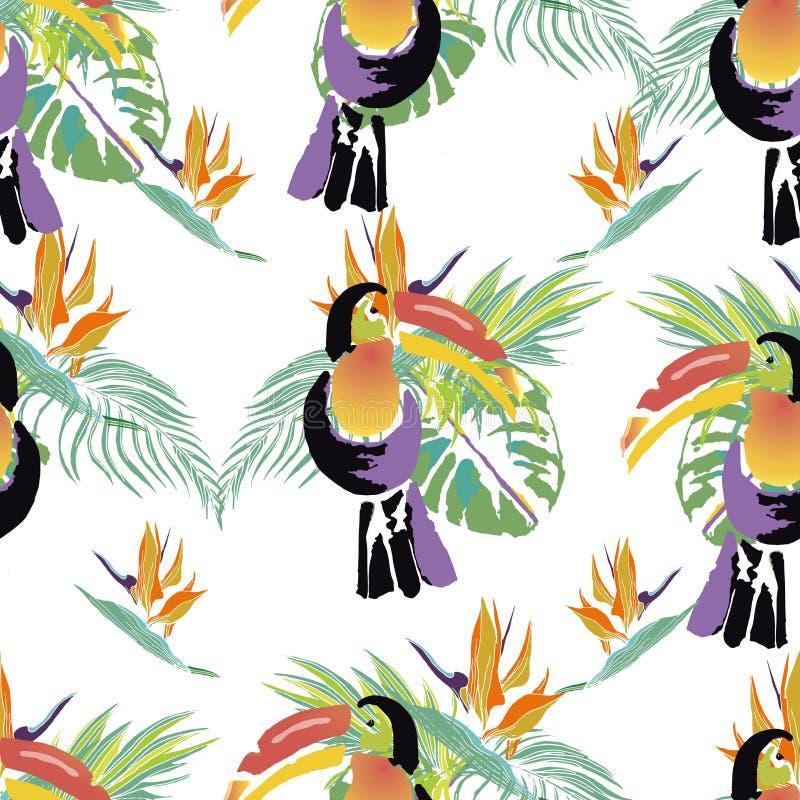 Pájaro tropical del tucán Animal exótico salvaje Modelo inconsútil Vect stock de ilustración