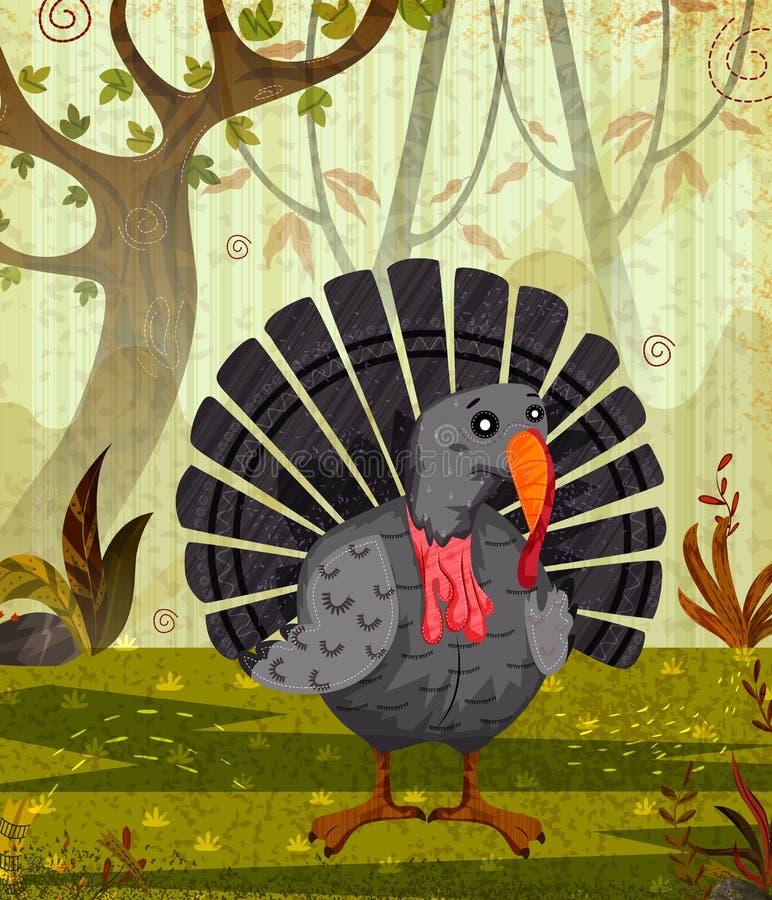Pájaro Turquía Del Animal Doméstico En Fondo Del Bosque De La Selva ...