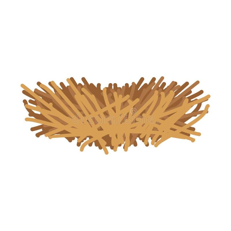 Pájaro vacío de la jerarquía aislado Casa del pájaro hecha de ramas Vector IL stock de ilustración
