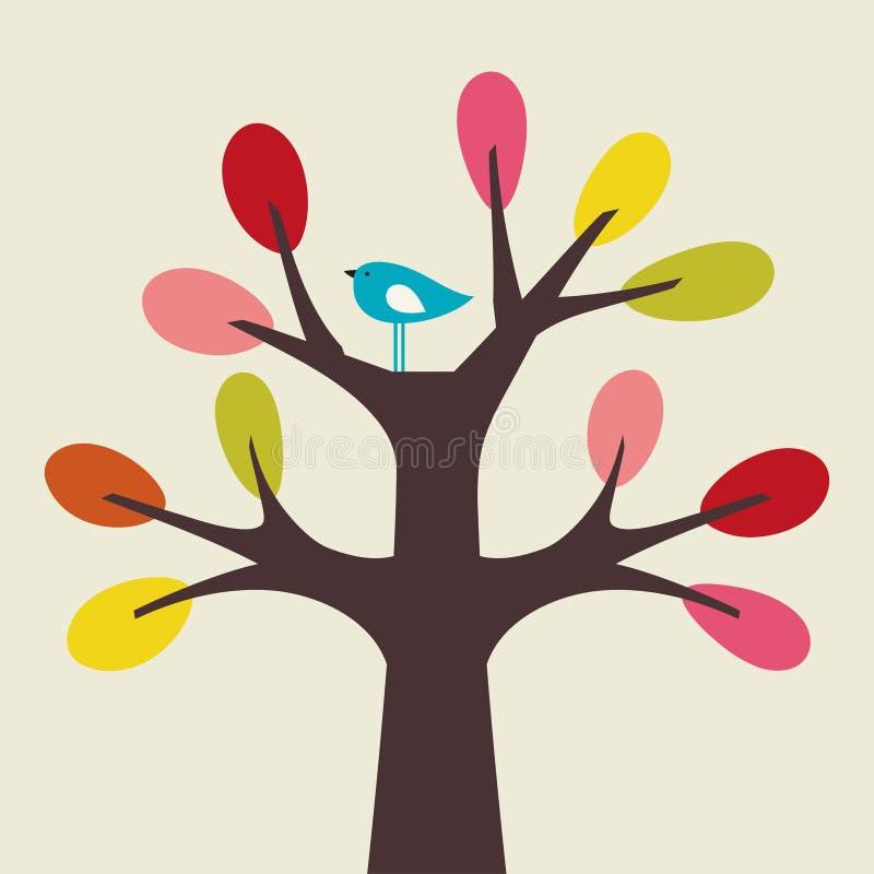 Pájaro y árbol del vector stock de ilustración
