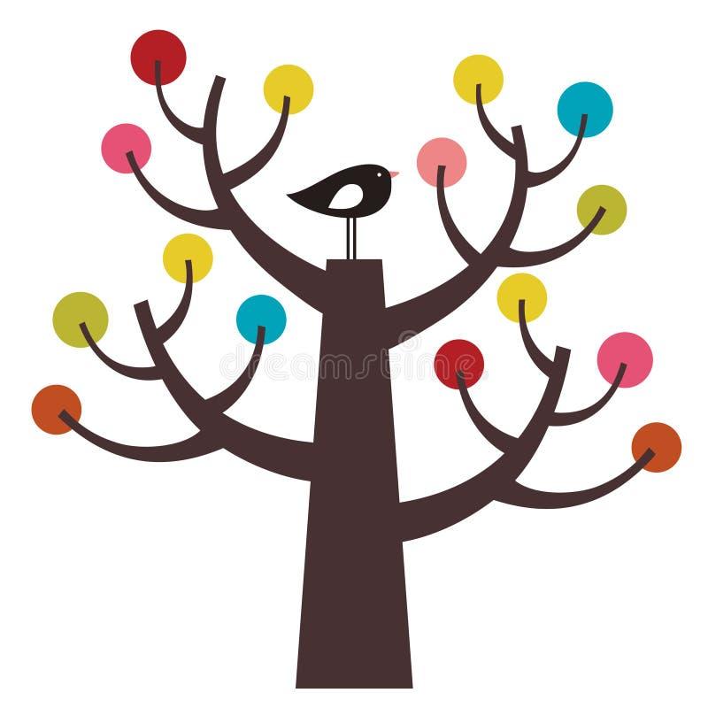Pájaro y árbol del vector libre illustration