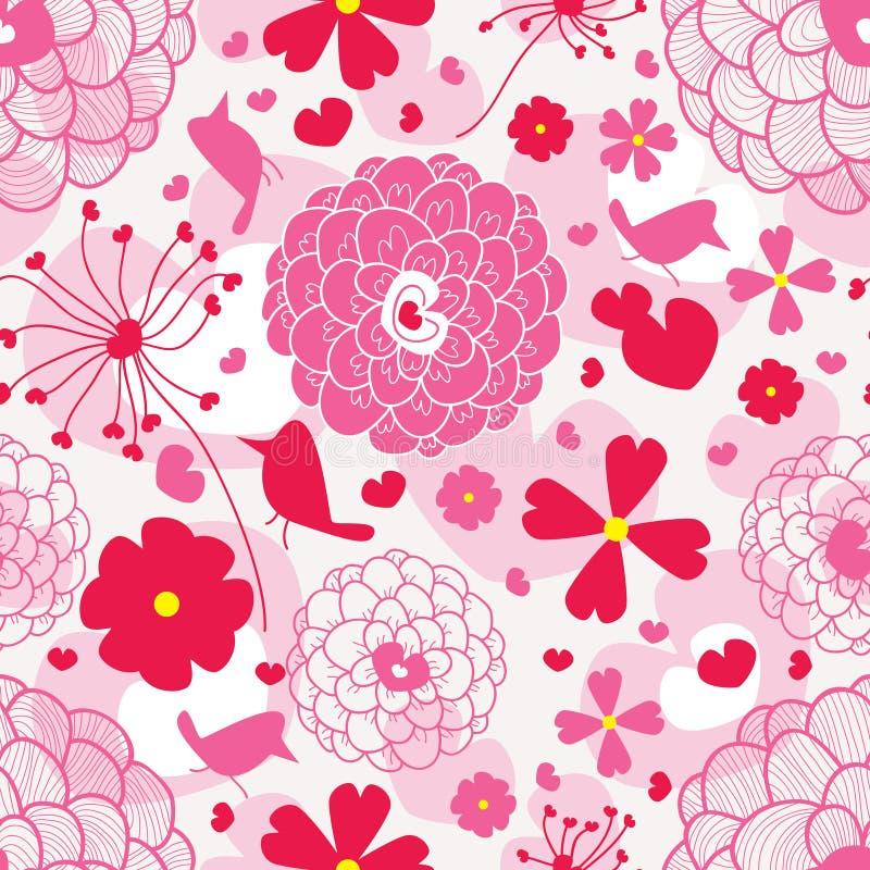 Pájaro y amor Pattern_eps stock de ilustración