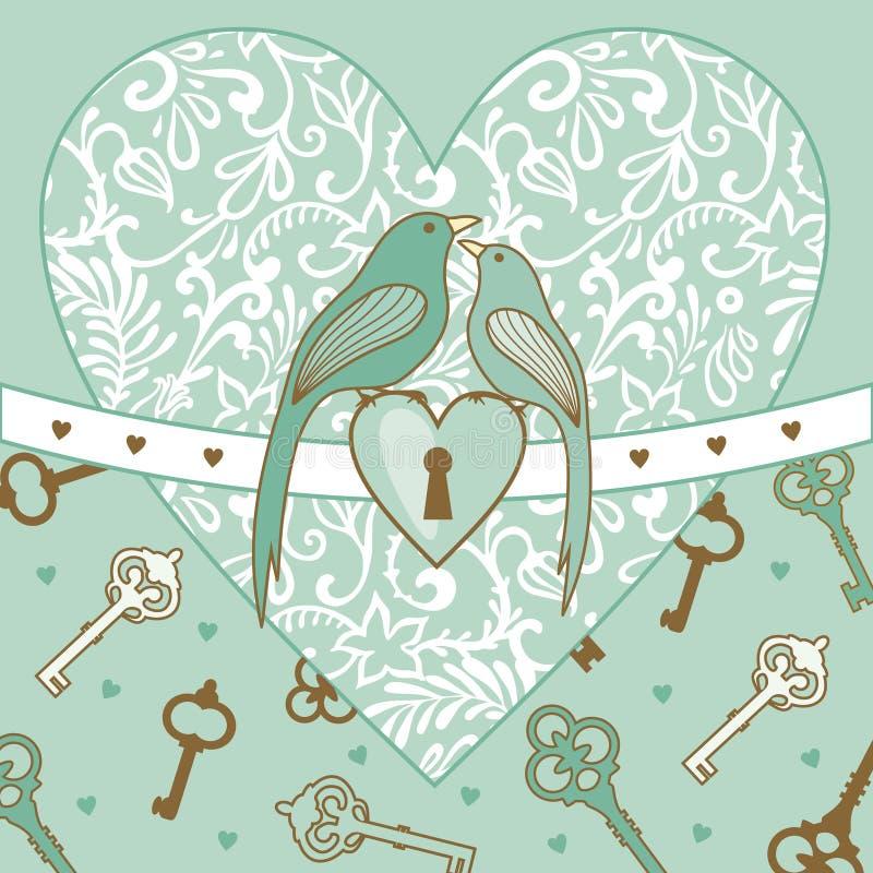 Pájaro-y-corazón ilustración del vector