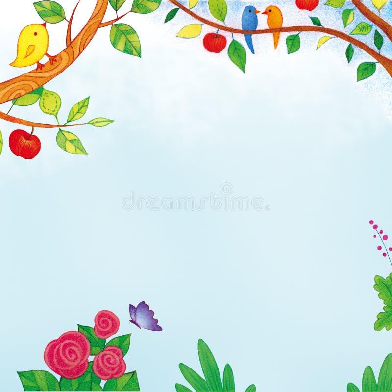Pájaro y flor en el ejemplo coloreado jardín del lápiz ilustración del vector